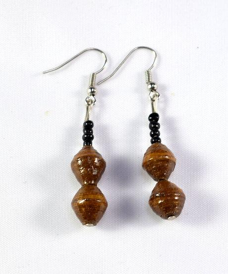 Double Paper Bead Earrings - Brown