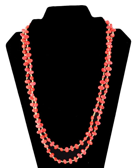 Long Seed Necklace - Orange