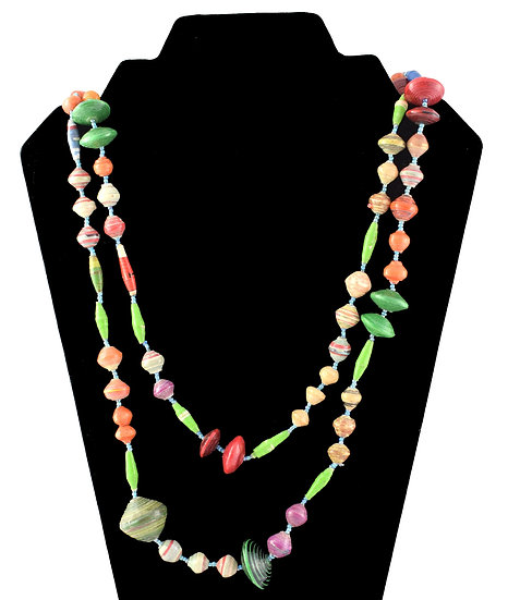 Long Paper Large Bead Necklace - Multicoloured