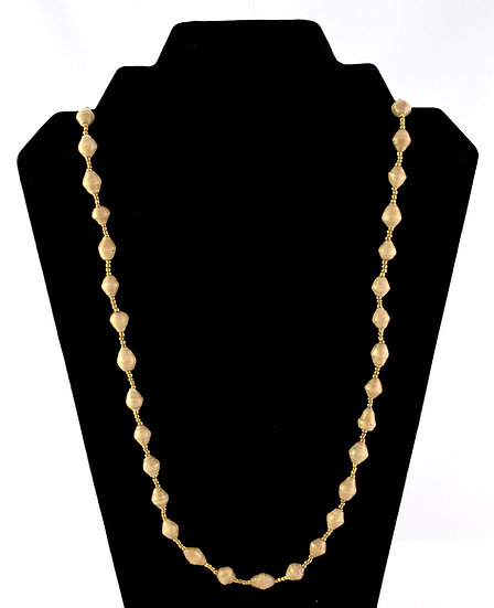 Medium Length Paper Bead Necklace - Cappucino
