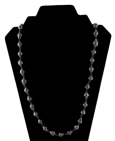 Medium Length Paper Bead Necklace - Black