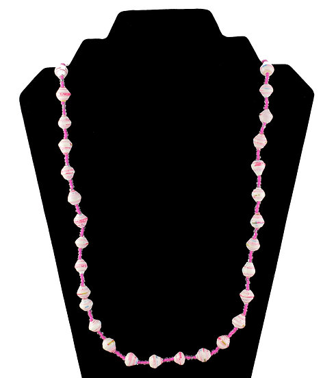 Medium Length Paper Bead Necklace - Pink & White