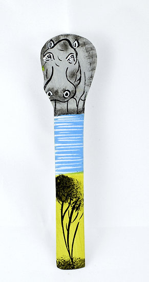 Leather painted bookmark - hippo