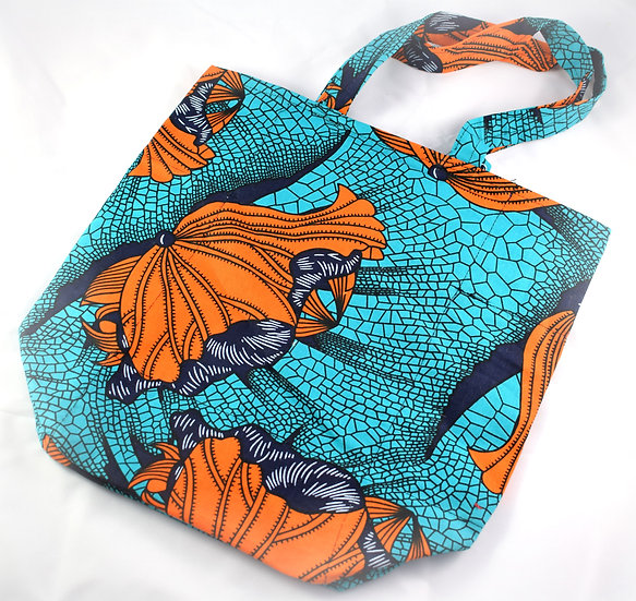 Lined Tote Bag - Black, Orange & Blue