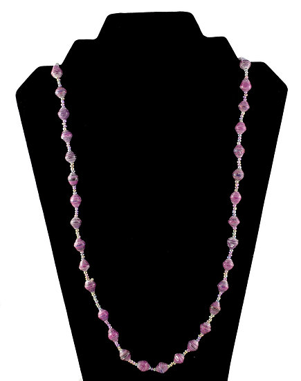Medium Length Paper Bead Necklace - Violet