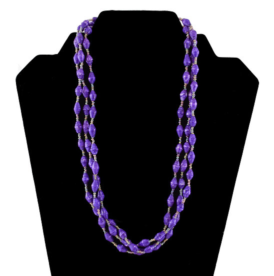 Multi-Stranded Paper Bead Necklace - Purple
