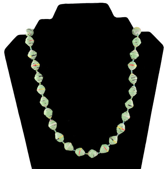Short Paper Bead Necklace - Green