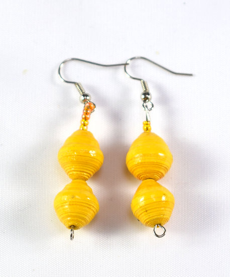 Double Paper Bead Earrings - Yellow