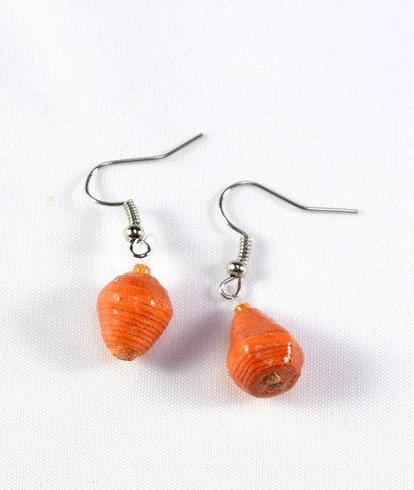 Paper Bead Earrings - Orange