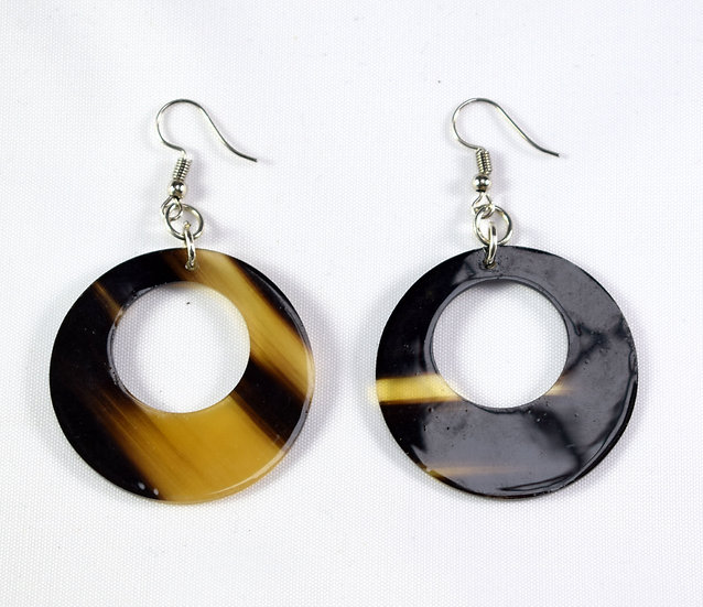 Circular Earrings - Brown