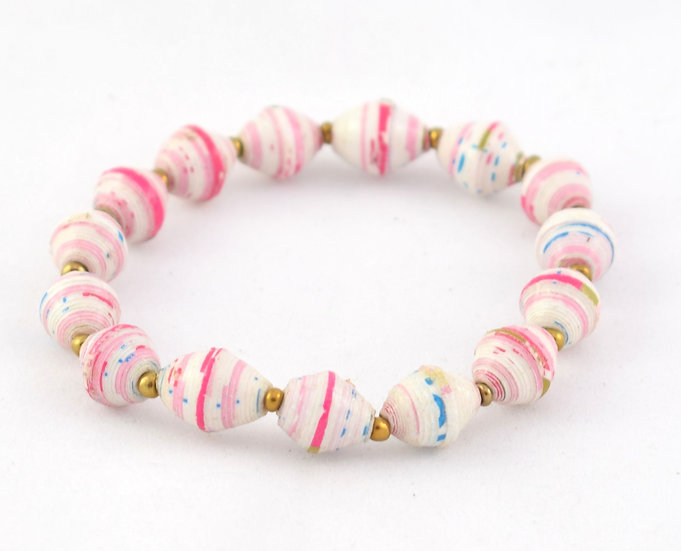 Paper Bead Bracelet - Pink & White