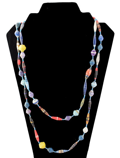 Long Paper Bead Necklace - Multi-coloured