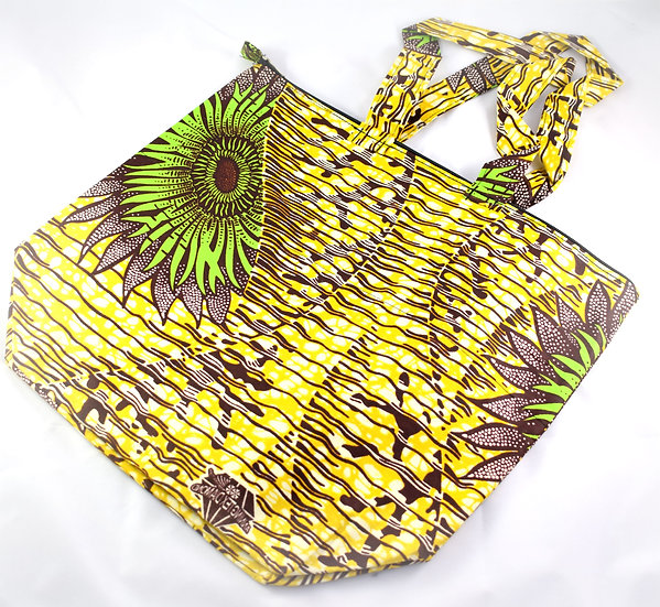 Lined Tote Bag - Yellow, Brown, Green & White