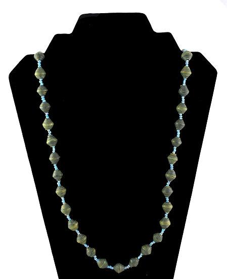 Medium Length Paper Bead Necklace - Dark Olive