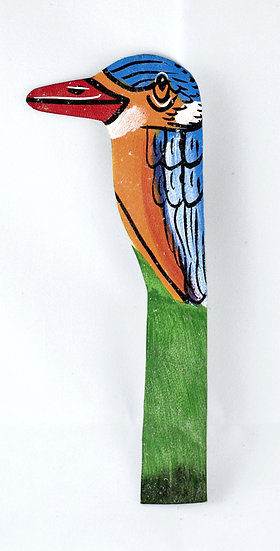 Leather painted bookmark - bird