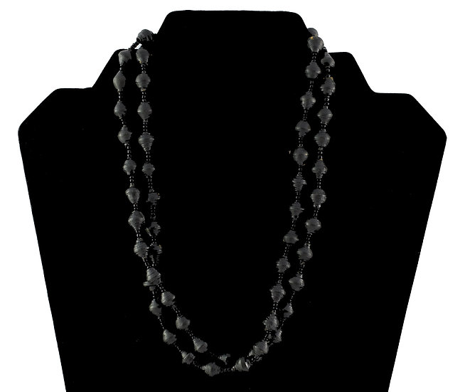 Multi-Stranded Paper Bead Necklace - Black