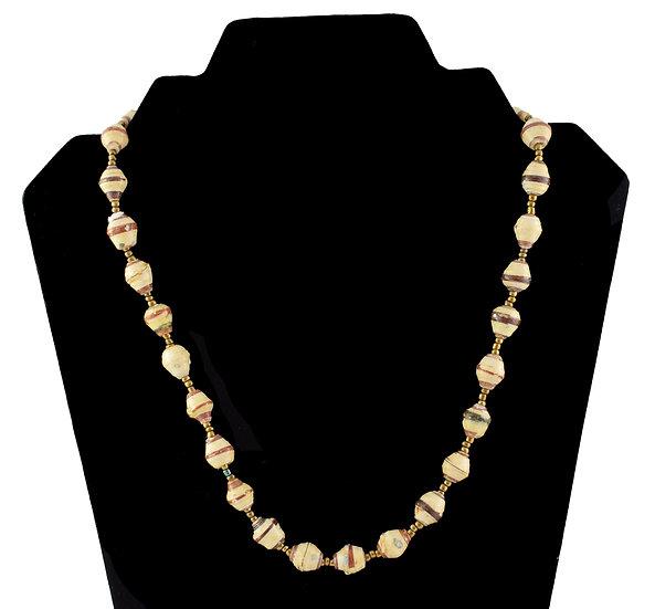 Short Paper Bead Necklace - Cream & Brown