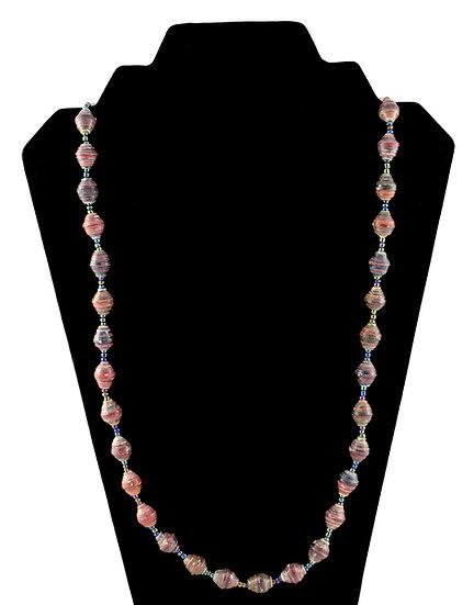 Medium Length Paper Bead Necklace - Red & Black