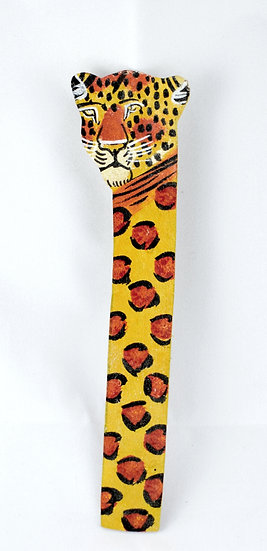 Leather painted bookmark - leopard