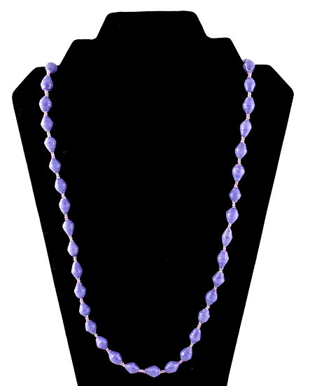 Medium Length Paper Bead Necklace - Bright Purple