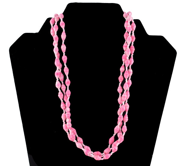 Multi-Stranded Paper Bead Necklace - Pink