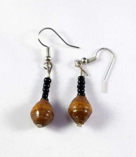 Paper Bead Earrings - Brown