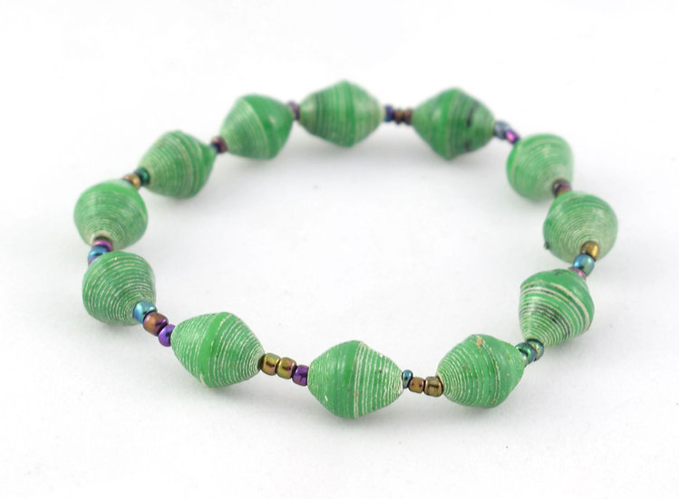 Paper Bead Bracelet - Green
