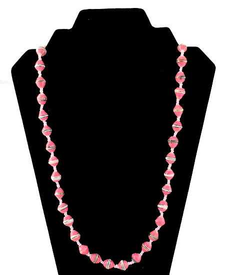 Medium Length Paper Bead Necklace - Pink, Black & White