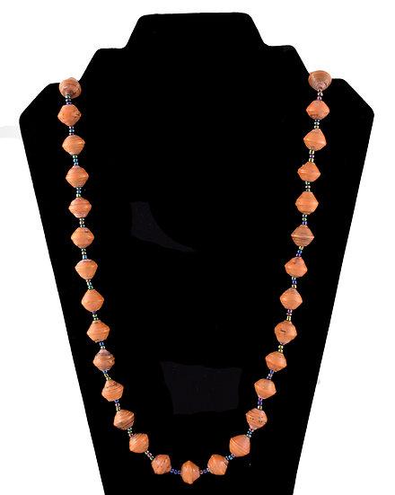 Medium Length Paper Bead Necklace - Salmon