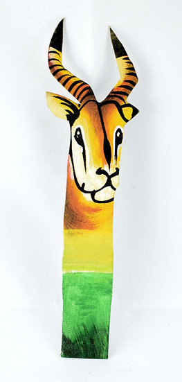 Leather painted bookmark - antelope