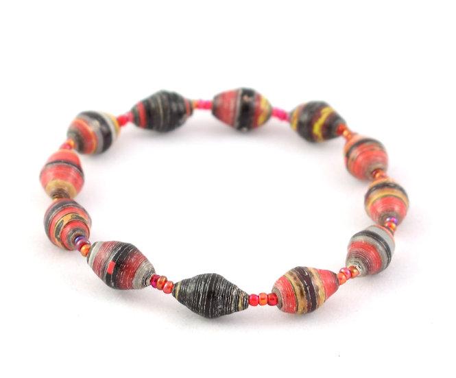 Paper Bead Bracelet - Black & Red