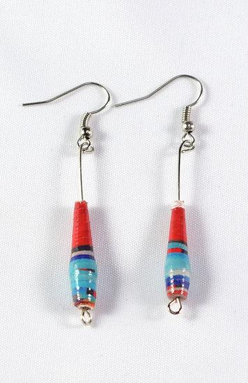 Paper Bead Earrings - Red & Blue