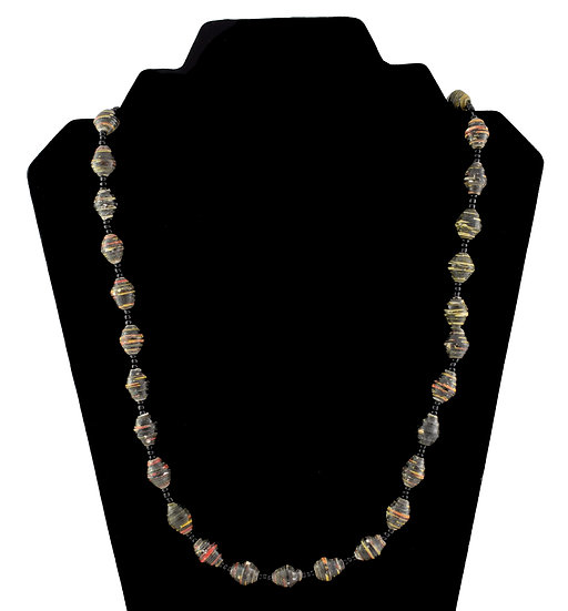 Short Paper Bead Necklace - Black