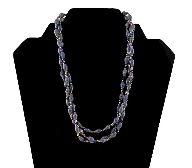 Multi-Stranded Paper Bead Necklace - Indigo