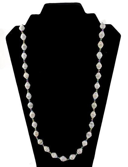 Medium Length Paper Bead Necklace - Green & White