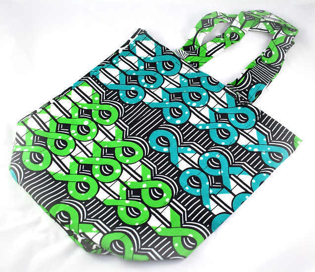 Lined Tote Bag - Black, Green, Blue & White