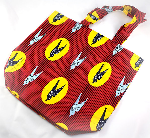 Lined Tote Bag - Red, Black, Yellow & Grey