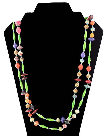 Long Paper Bead Necklace - Green