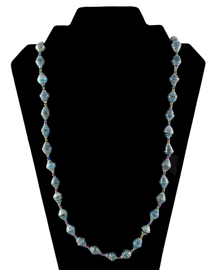 Medium Length Paper Bead Necklace - Cyan