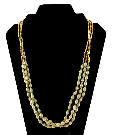 Multi-strand Paper Bead Necklace - Olive