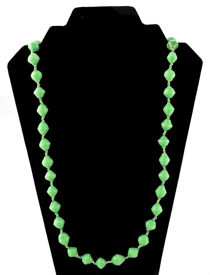 Medium Length Paper Bead Necklace - Green