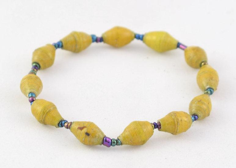 Paper Bead Bracelet - Mustard
