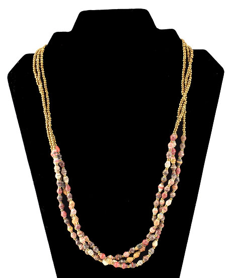 Multi-strand Paper Bead Necklace - Multicolour