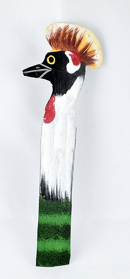 Leather painted bookmark - crane