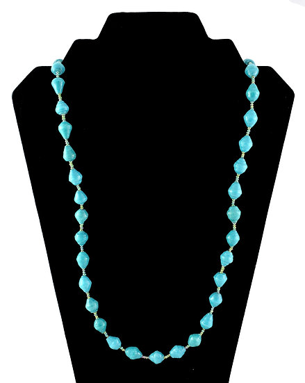 Medium Length Paper Bead Necklace - Teal
