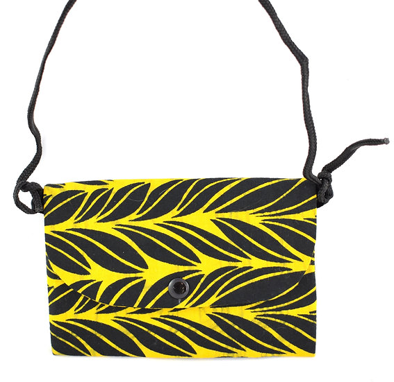 Purse with Detatchable Strap - Black & Yellow