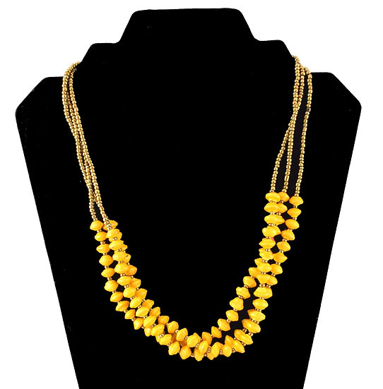 Multi-strand Paper Bead Necklace - Yellow