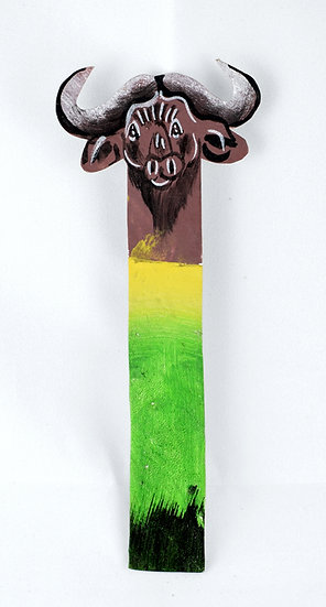 Leather painted bookmark - bison