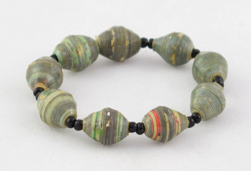 Child-size (small) paper bead bracelet - Blue