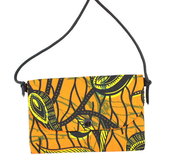 Purse with Detatchable Strap - Orange, Yellow & Black